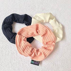Conjunto Scrunchies: branco, rosa chá e marinho