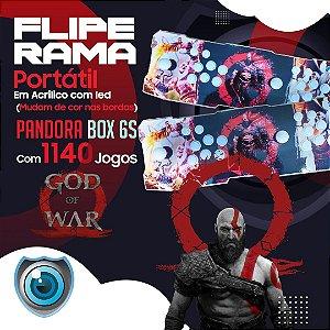 FLIPERAMA 2 JOGADORES GOD OF WAR EM ACRÍLICO COM LED P/ TV