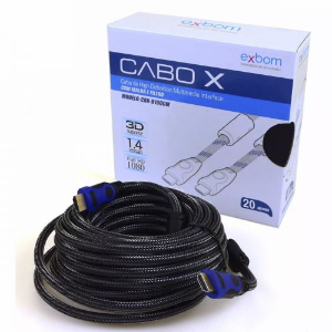 CABO HDMI 20 METROS BLINDADO ULTRA HD 4K 3D BANHADO À OURO