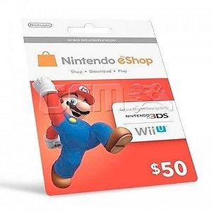 CARTÃO NINTENDO 3DS - WII U ESHOP CASH CARD $50