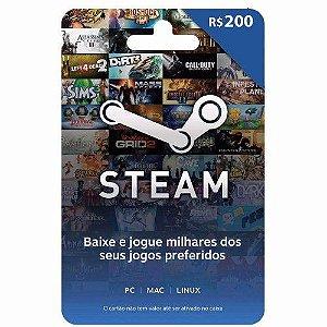 CARTÃO PRESENTE STEAM GIFT CARD R$ 200 REAIS
