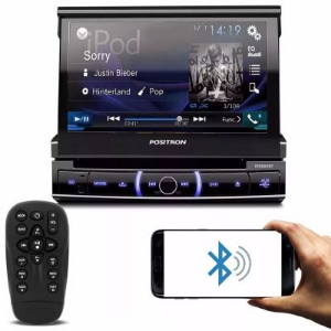 DVD RETRÁTIL AUTOMOTIVO PÓSITRON BLUETOOTH USB FM AM TOUCH