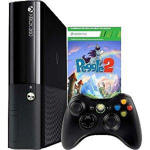 GAME XBOX 360 4GB + JOGO + CONTROLE S/ FIO ( JOGO PEGGLE2 )
