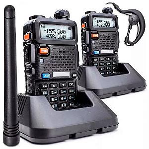 KIT 2 RÁDIO COMUNICADOR HT UV-5R DUAL BAND UHF VHF FONE PTT