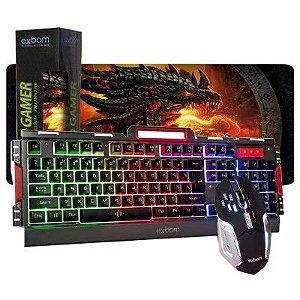 KIT TECLADO SEMI MECÂNICO GAMER USB BK3000 MOUSE PAD GRANDE