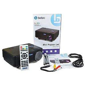 MINI PROJETOR LED PORTATIL BETEC - 1200 LUMENS - 120 POL. - TRIPE - ENTRADA HDMI, VGA, AV-RCA E USB