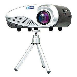 MINI PROJETOR LED PORTATIL BETEC - 200 LUMENS - 100 POL. - TRIPE - ENTR. HDMI, VGA, AV, SD E USB