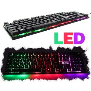 TECLADO GAMER LUMINOSO LED NEON USB LEGENDS GHOST TECLA Ç T9