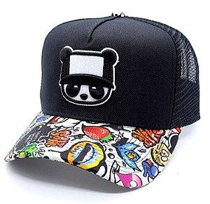Boné Abaz Trucker - Panda -Preto - Aba Grafite