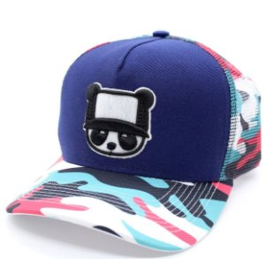Boné Abaz Trucker - Panda - Camuflado Pink and Blue