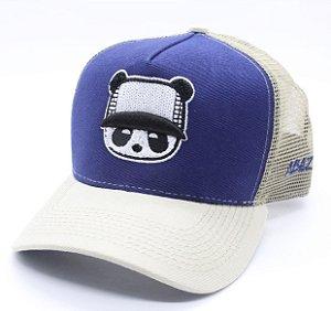 Boné Abaz Trucker - Panda - Azul e Bege