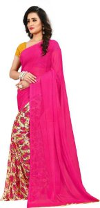 saree rosa com estampa florida