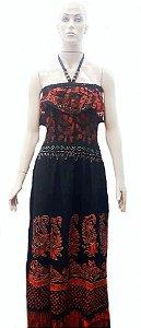 vestido longo batik frente única