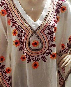 kaftan de algodão bordada