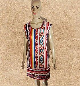 vestido curto indiano listrado
