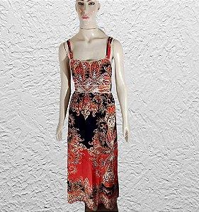vestido longo estampado laranja e preto