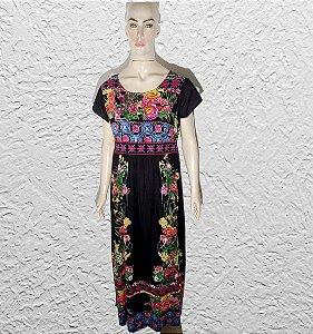 vestido longo com manga bordado