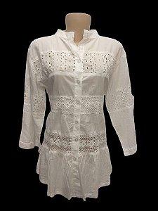 camisa branca gola japonesa
