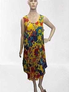 vestido trapézio flores