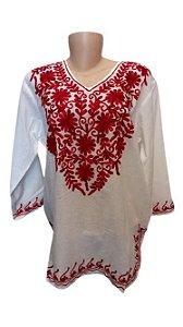 bata branca com bordado de flor colorido