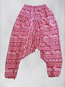 calça saruel estampada rosa