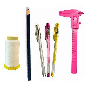 Kit design Sobrancelhas Linha, paquímetro, 3 caneta e lápis.