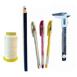 Kit design Sobrancelhas -Linha, paquímetro, 3 caneta e lápis