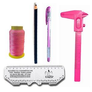Kit design Sobrancelhas -Linha, paquímetro, caneta e régua