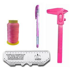 Kit design Sobrancelhas Linha, paquímetro, caneta e régua
