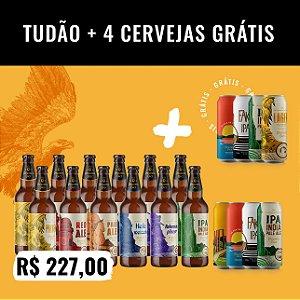 Combo Tudão: 20 Cerveja no total. São12 garrafas 500ml + Pack de IPAs (4 IPAs 473ml) + 4 Cervejas 473ml (Grátis!)