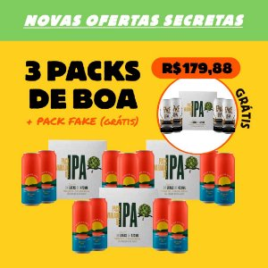 3 Packs de Boa na Lagoa - Brut IPA + 1 Pack Fake IPA (Grátis)