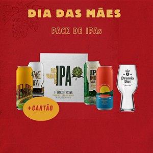 Pack de IPAs  (Quatro IPAs 473ml) + Copo IPA Glass 540ml + Cartão de presente