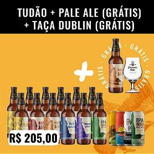 Combo Tudão: 17 Cervejas no total. São 12 Garrafas 500ml + Pack de IPAs (4 IPAs 473ml) + Pale Ale (grátis) + Taça Dublin 400ml (grátis)