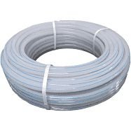 Mangueira tubo rigido de polietileno natural listra azul  3/8