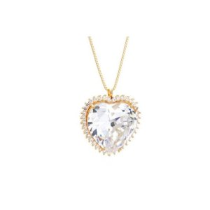 Colar Feminino Gargantilha Folheada à Ouro com Pingente Cristal em Forma de Coração - 2145