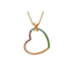 Colar Feminino Gargantilha Folheada à Ouro com Pingente de Coração cravejado em Zircônias Coloridas - 2140