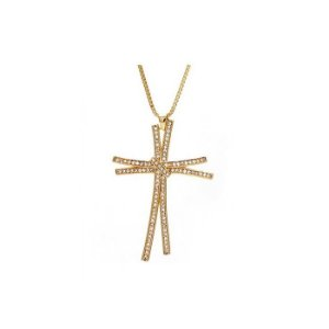 Colar Feminino Gargantilha Folheada à Ouro com Pingente de Cruz Cravejada em Zircônias - 2142