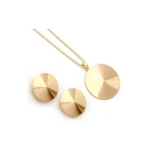 Conjunto Colar e Brinco de Círculos Folheado à Ouro - 2118