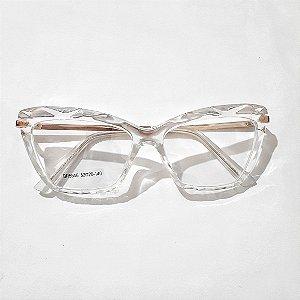 Óculos de Grau Feminino Branco Transparente  - Armação de Óculos de Grau Feminino Lapidado | Ótica Online