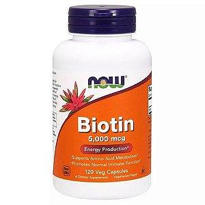 Biotina 5000 mcg (120 Cápsulas) - NOW Foods
