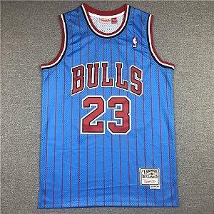 Camisa de Basquete Retrô Chicago Bulls azul com listras - 23 Jordan, 33 Pippen, 91 Rodman