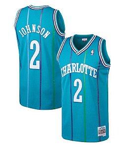 Camisas de Basquete Retrô Charlotte Hornets - 2 Johnson, 1 Bogues, 33 Mourning