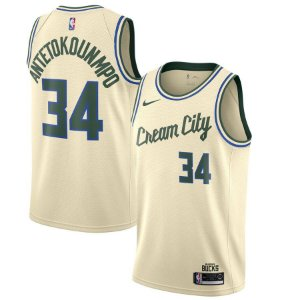 "Camisa Milwaukee Bucks city edition ""Cream City"" - 34 Giannis Antetokounmpo"