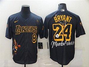Camisa de Baseball Los Angeles Lakers Especial Mamba Forever - Kobe Bryant 8 / 24