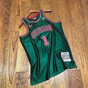 Camisa de Basquete Derrick Rose Chicago Bulls Authentic Green Brilhante 2008/2009