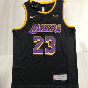 """Camisa de Basquete Los Angeles Lakers """"Crow Glory"""" Earned edition 2021 Bordado Especial - 23 Lebron James"""