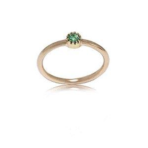 anel esmeralda e ouro rose