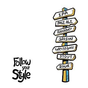 Adesivo Decorativo com Estilos de Cervejas (50x17.5cm) - Follow your Style