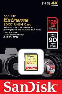 Cartão SDXC Sandisk 128GB Classe 10 Extreme 90MB/s