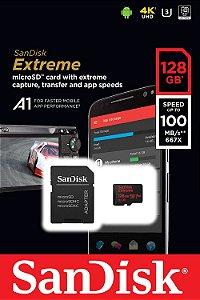 Cartão MicroSDXC Sandisk 128GB Classe 10 Extreme A1 100MB/s